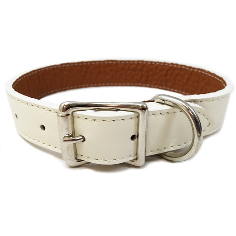 Italian Leather Dog Collar - White