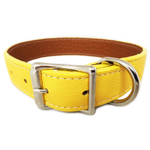 Italian Leather Dog Collar - Yellow
