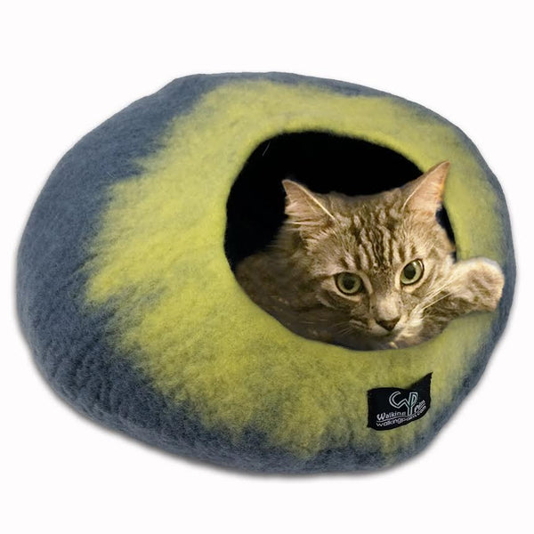 Cat Cave Cat Bed - Grey/Yellow