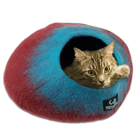 Cat Cave Cat Bed - Maroon/Teal