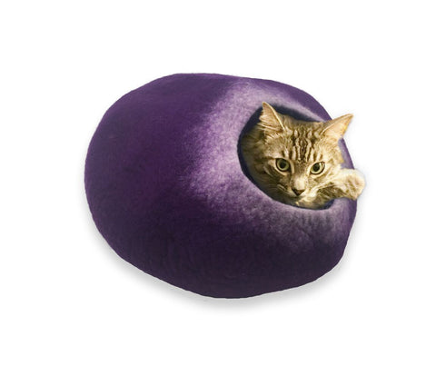 Cat Cave Cat Bed - Purple & White