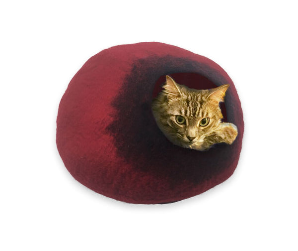 Cat Cave Cat Bed - Red/Black
