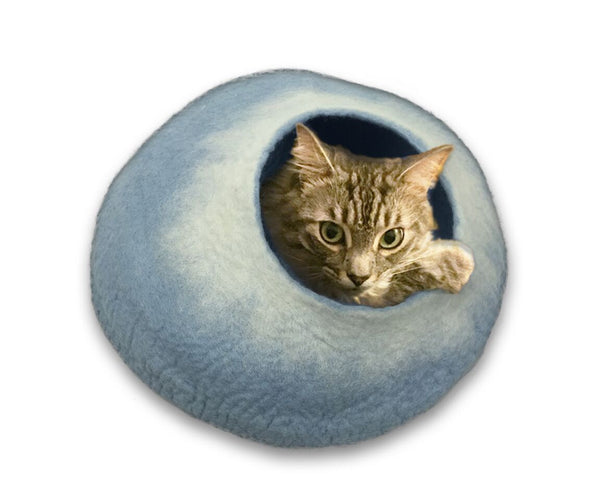 Cat Cave Cat Bed - Sky Blue/White