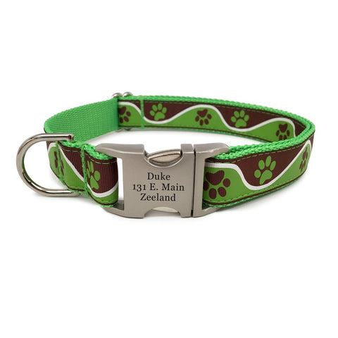 Rita Bean Engraved Buckle Personalized Dog Collar - Wavy Paws (Green)