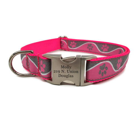 Rita Bean Engraved Buckle Personalized Dog Collar - Wavy Paws (Pink)