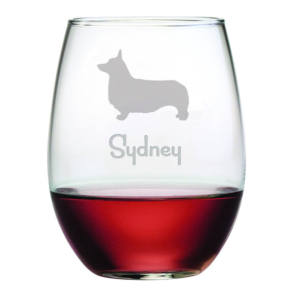 Welsh Corgi Wine Glass