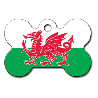 Welsh Flag Large Dog Tag - Bone