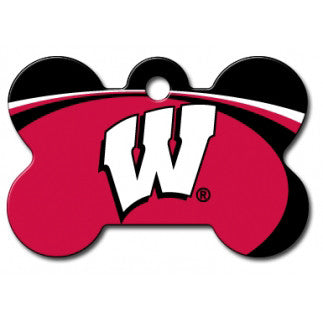 Wisconsin Badgers NCAA Custom Engraved Dog ID Tag - Bone