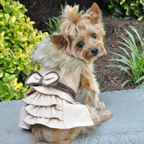 Wool Faux-Fur Trimmed Dog Harness Coat and Matching Leash - Camel
