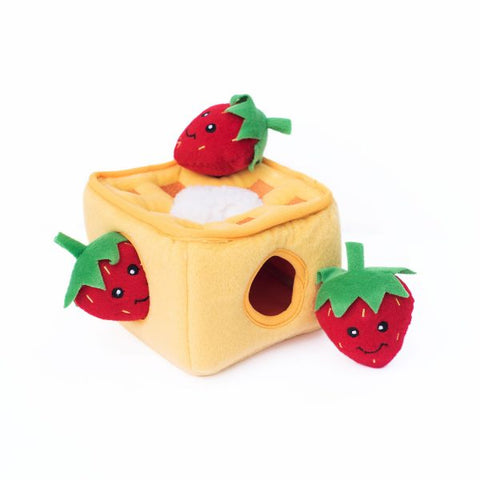 Interactive Plush Burrow Dog Toy - Strawberry Waffles