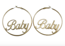 "Load image into Gallery viewer, Gold ""Baby"" Hoops"