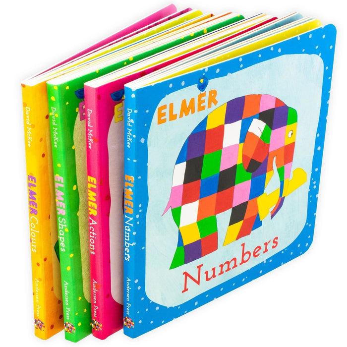 Learn with Elmer 4 Book Collection - Ages 0-5 - Board Books - David McKee - Books2Door