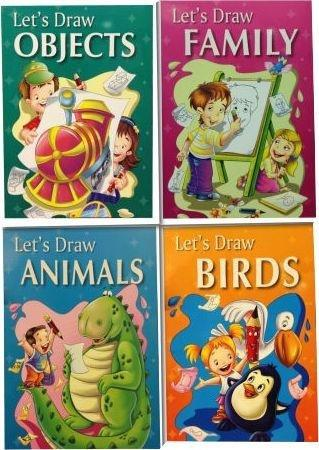 Let's Draw Collection 4 Books (Objects, Family, Birds, Animals) - Ages 0-5 - Paperback - B. Jain Publishers - Books2Door