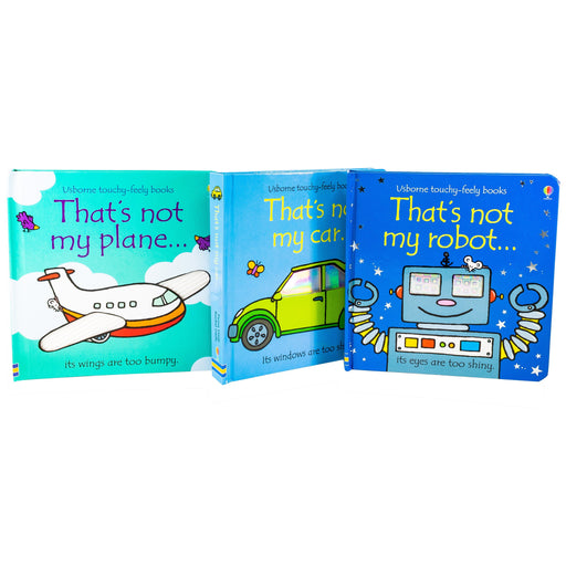 Touchy Feely Robot Car Plane 3 Books - Ages 0-5 - Hardback - Usborne 0-5 Usborne Publishing