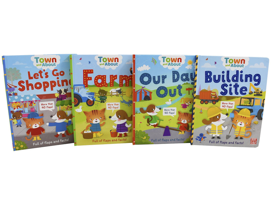 0-5 - Town & About Full Of Flaps Facts 4 - Ages 0-5 - Board Books Children Set By Rebecca Gerlings