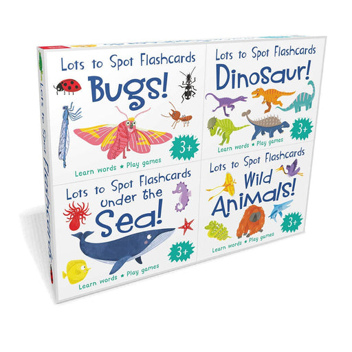 3+ - Lots To Spot Flashcards Tray 4 Pack Busy Animals, Dinosaurs, Bugs, Under The Sea- Hardcover - Age 3-5