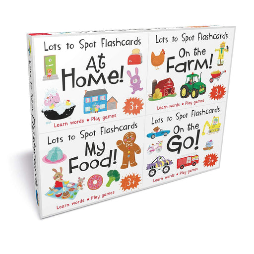 3+ - Lots To Spot Flashcards Tray Busy World 4 Pack My Food, At Home, On The Go, On The Farm- Hardcover - Age 3-5