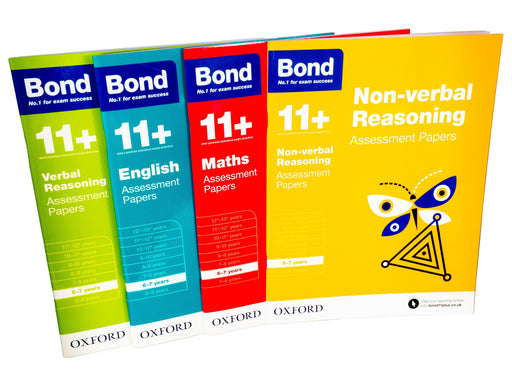Bond 11+ Maths English Assessment Papers 6-7 years 4 Books -Paperback - Oxford 5-7 Oxford