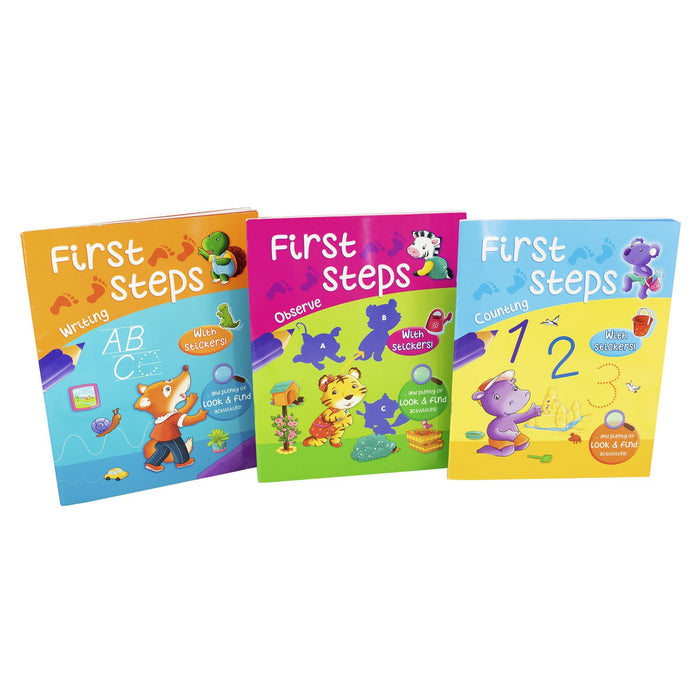 5-7 - First Steps Counting Writing And Observe 3 Books With Sticker And Plenty Of Look & Find Activities - Paperback-Age 5-7