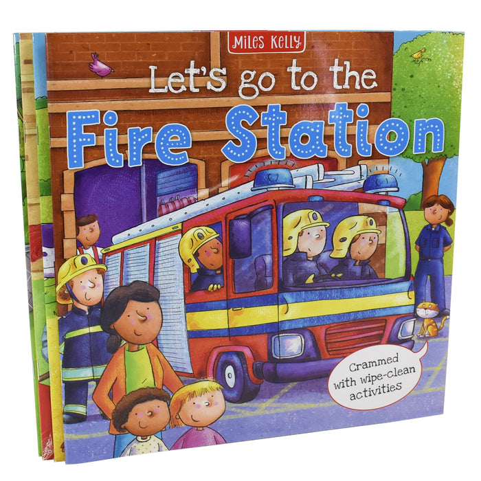 Let's Go to the Collection Set 4 Books - Fire Station, Castle, Farm, Vet - Ages 5-7 - Miles Kelly 5-7 Miles Kelly