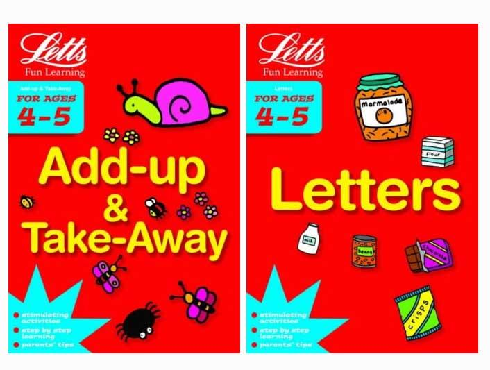 Letts Fun Learning For Ages 4-5 Letters and Add ups Early Stage 2 Books Collection - Paperback 5-7 Harper Collin