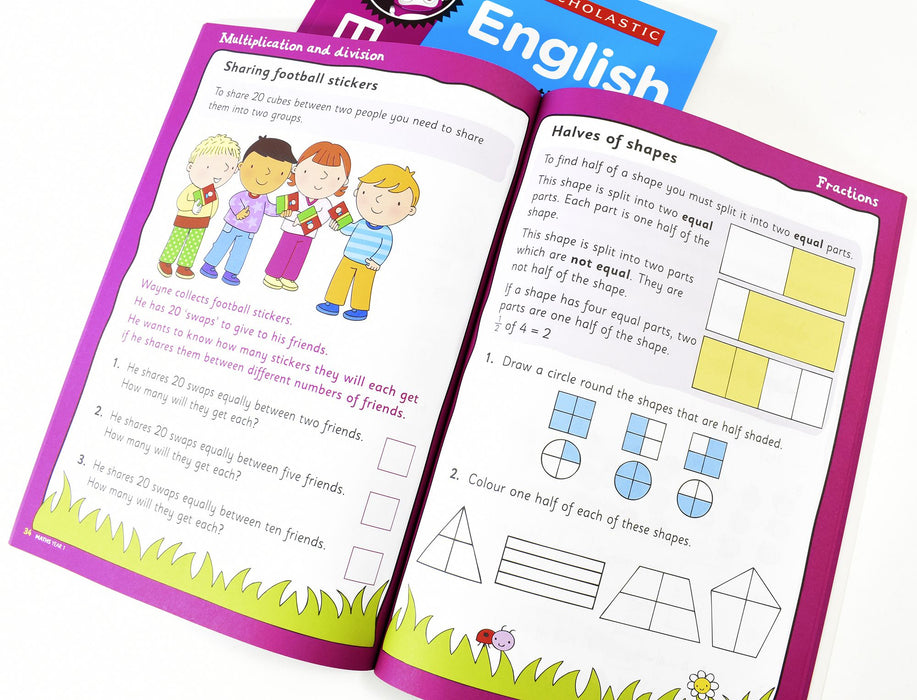 Perfect Practice KS1 English and Maths Year 1 - 2 Books For Age 5-6 Years - Paperback 5-7 Scholastic