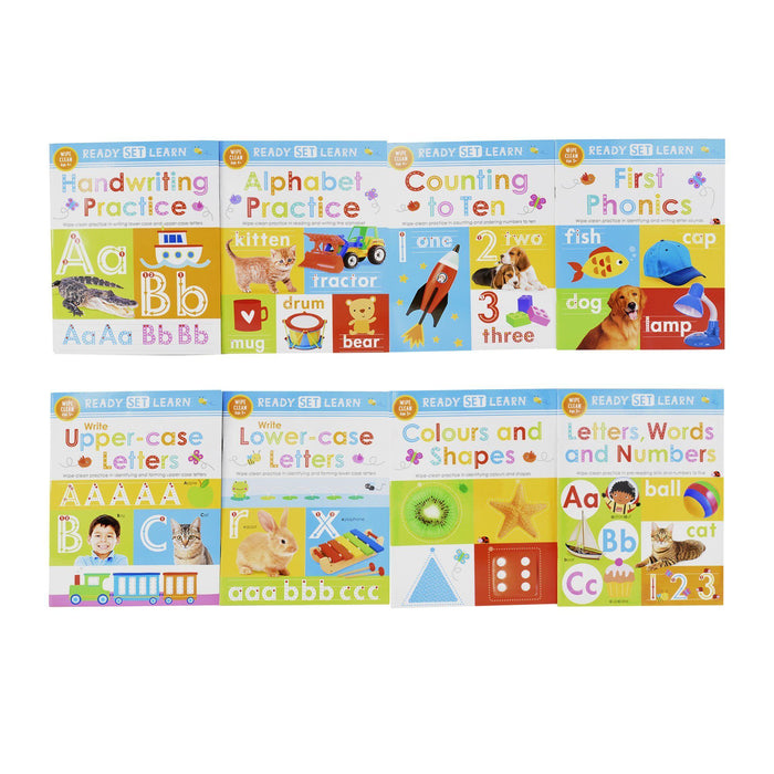 5-7 - Ready Set Learn 8 Early Learning Wipe Clean Books Colours Shapes Numbers Phonics Handwriting Counting - Ages 5-7 – Paperback