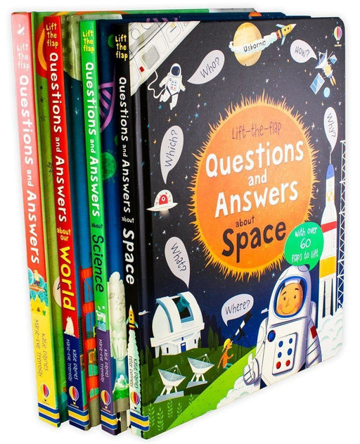 Usborne Lift-the-Flap Questions and Answers 4 Book Set- Space, Science, World - Ages 5-7 - Board Books - Katie Daynes - Books2Door