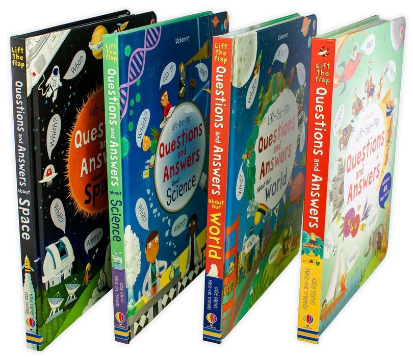 Usborne Lift-the-Flap Questions and Answers 4 Book Set- Space, Science, World - Ages 5-7 - Board Books - Katie Daynes 5-7 Usborne