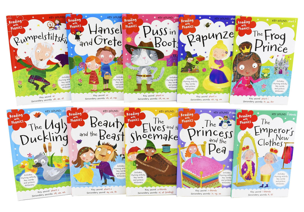 5+ - Reading With Phonics Key Sounds 10 Books Collection - Hardback- Age 5+