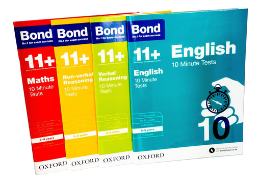 Bond 11+ Maths English Verbal Reasoning 10 Minute Test For Age 8-9 years - Ages 7-9 - Paperback - Oxford - Books2Door