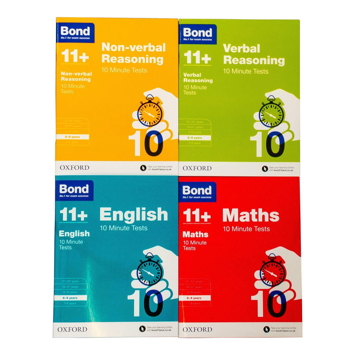 Bond 11+ Maths English Verbal Reasoning 10 Minute Test For Age 8-9 years - Paperback - Oxford - Books2Door