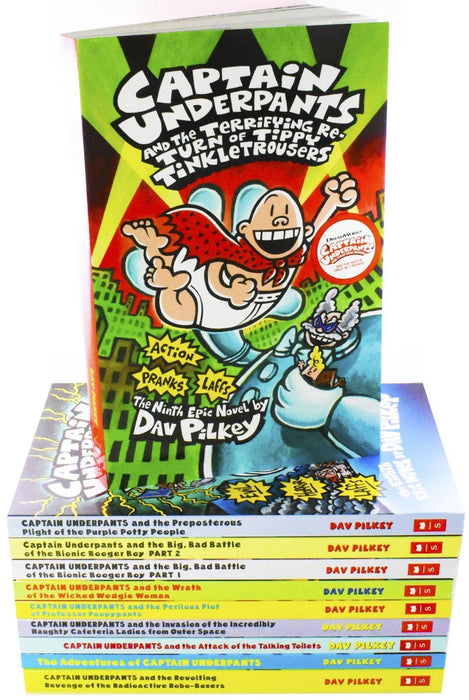 Captain Underpants 10 Book Set - Ages 7-9 - Paperback - Dav Pilkey - Books2Door