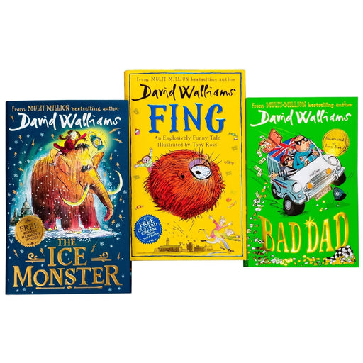 David Walliams 3 Book Collection Bad Dad, Fing, The Ice Monster - Ages 7-9 - Paperback/Hardback - Books2Door