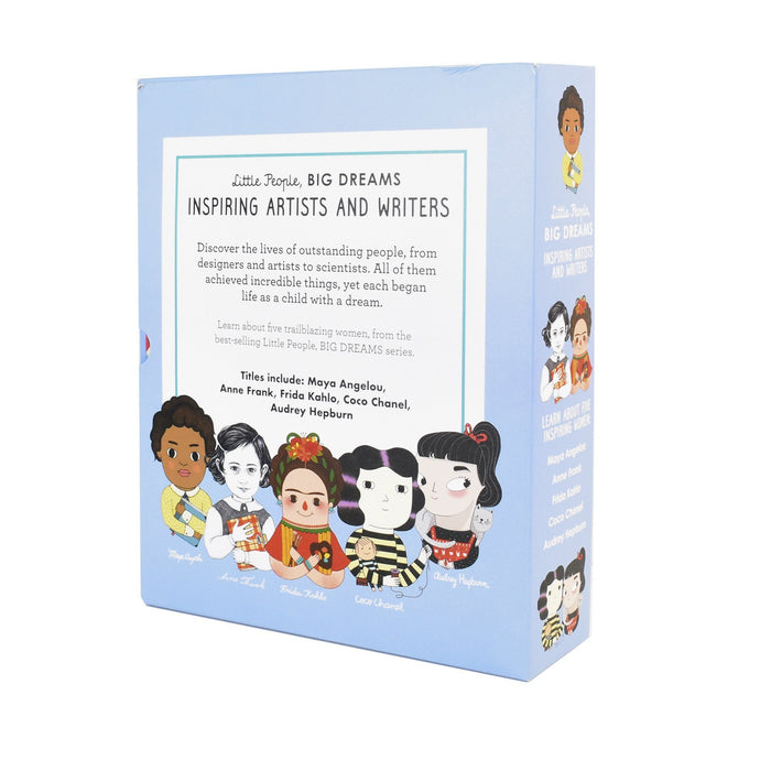 7-9 - Little People Big Dreams Inspiring Artists And Writers Gift 5 Books Box Collection Set (Maya Angelou, Anne Frank, Frida Kahlo, Coco Chanel, Audrey Hepburn) - Ages 7-9 - Hardback - Frances Lincoln
