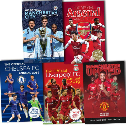 Official Arsenal Chelsea Liverpool Manchester City and Man United Football Annual 2019 5 Books Collection - Books2Door