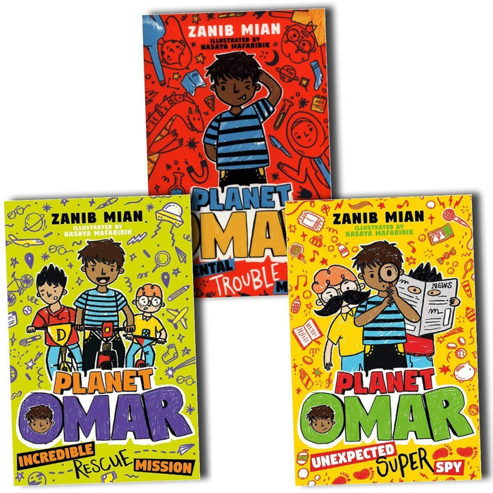 7-9 - Planet Omar Series 3 Books Collection Set- Ages 7-9 - Paperback - Zanib Mian