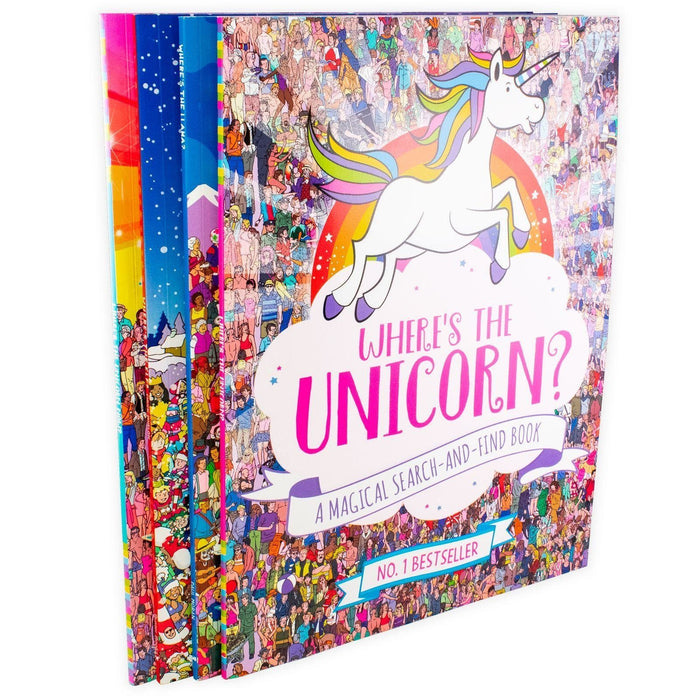 Where's the Elf, Lllama, Unicorn & Unicorn Now Search and Find 4 Book Collection - Ages 7-9 - Paperback - Books2Door