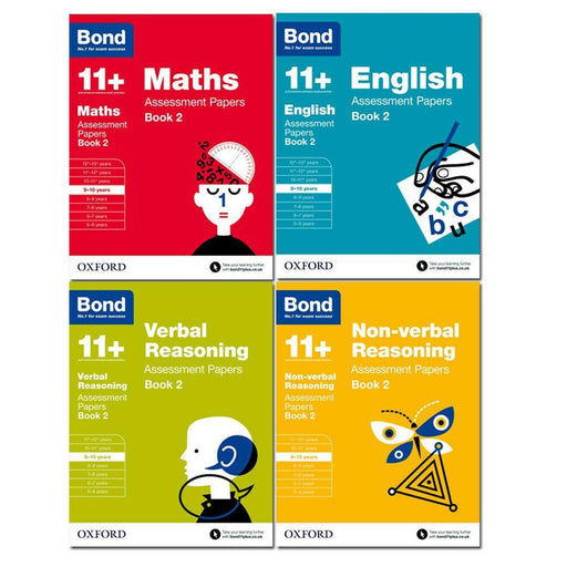 Bond 11+ Maths English Non-verbal Reasoning Assessment Papers Book 2 - Age 9-10 - Ages 9-14 - Paperback - Oxford - Books2Door