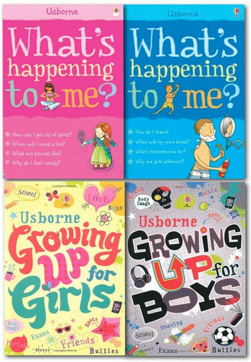 Growing Up for Girls & Boys Whats Happening to Me? 4 Books - Ages 9-14 - Paperback - Usborne - Books2Door