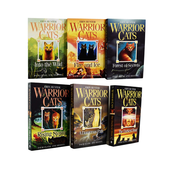 9-14 - Warrior Cats Series 1 The Prophecy Begin 6 Books - Ages 9-14 - Paperback - Erin Hunter