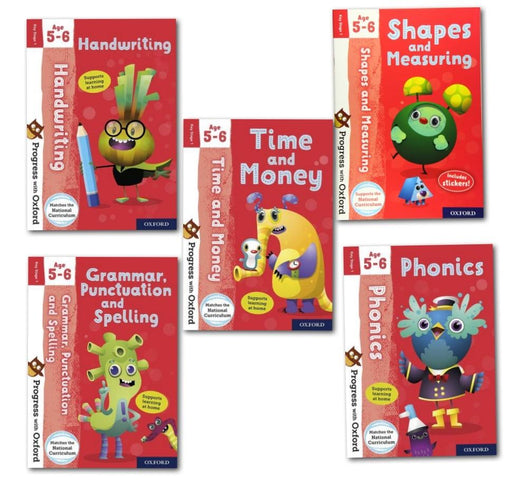 Progress with Oxford Key Stage 1 for Age 5-6 includes Stickers 5 Books Collection Set - Paperback