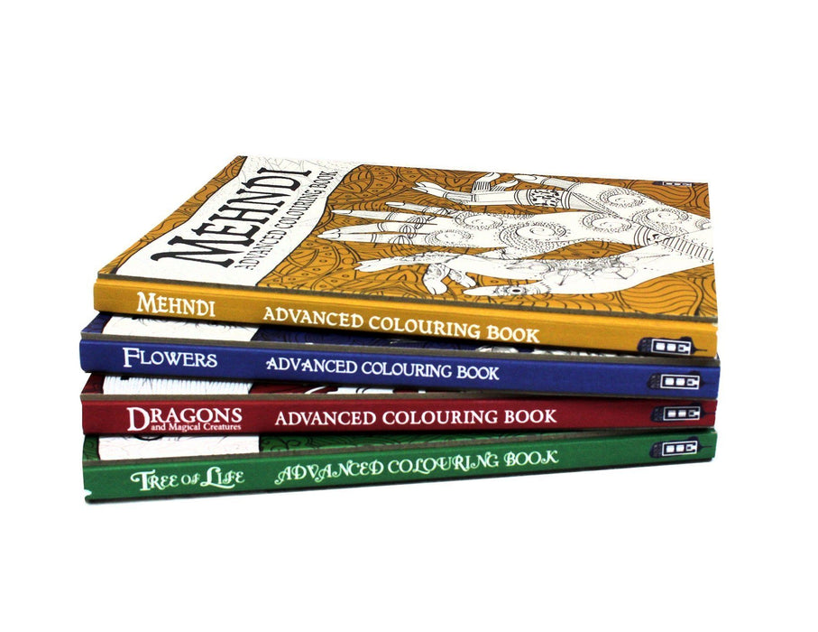 Advanced Art 4 Colouring Books Collection - Flowers, Tree, Dragons, Mehndi - Hardback - David Stewart - Books2Door
