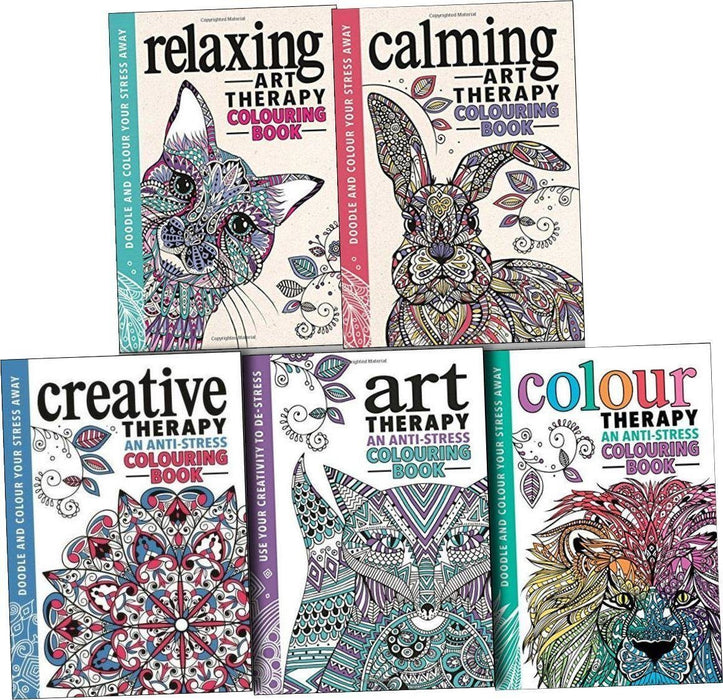 Art Therapy Anti Stress 5 Adult Colouring Books - Hardback - Michael O'Mara - Books2Door