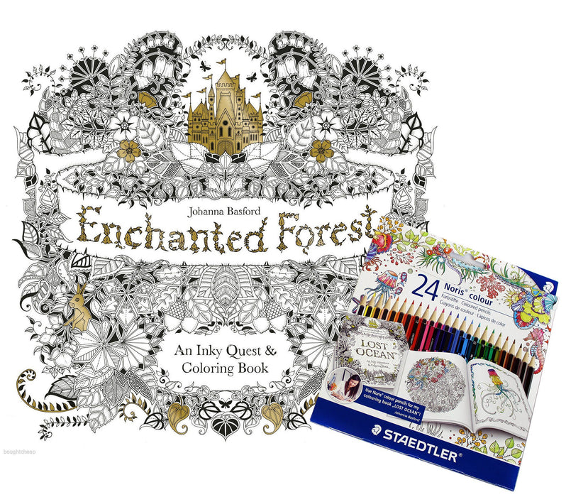 Enchanted Forest: An Inky Quest and Colouring Book with 24 Norris Pencils - Paperback - Johanna Basford - Books2Door