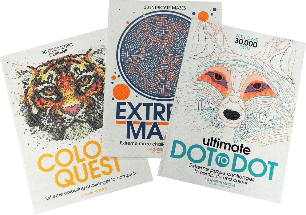 Extreme Puzzle 3 Books Collection-Ultimate Dot to Dot,Extreme Mazes,Colour Quest - Paperback - Michael O'Mara - Books2Door