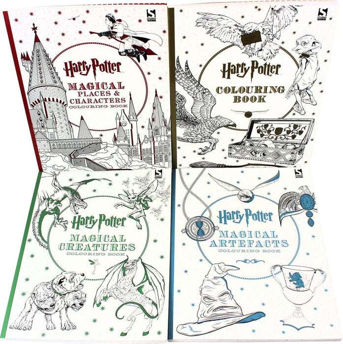 Harry Potter 4 Colouring Books Collection Set - Paperback - Warner Brothers 9-14 Studio Press