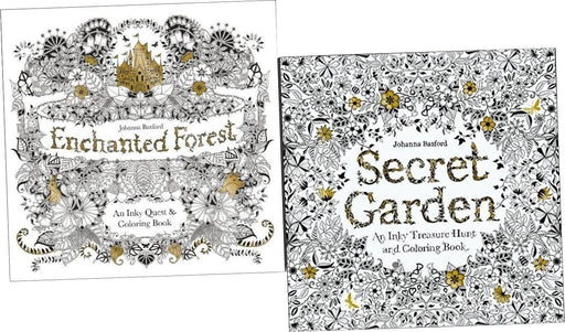 Secret Garden & Enchanted Forest Inky Treasure 2 Colouring Books - Paperback - Johanna Basford - Books2Door