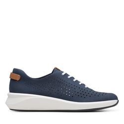 Women's Clarks Un Rio Tie/Navy Shoe - Omars Shoes
