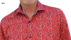 Men's 7 Downie St 3019/Red Printed Long Sleeve Shirt